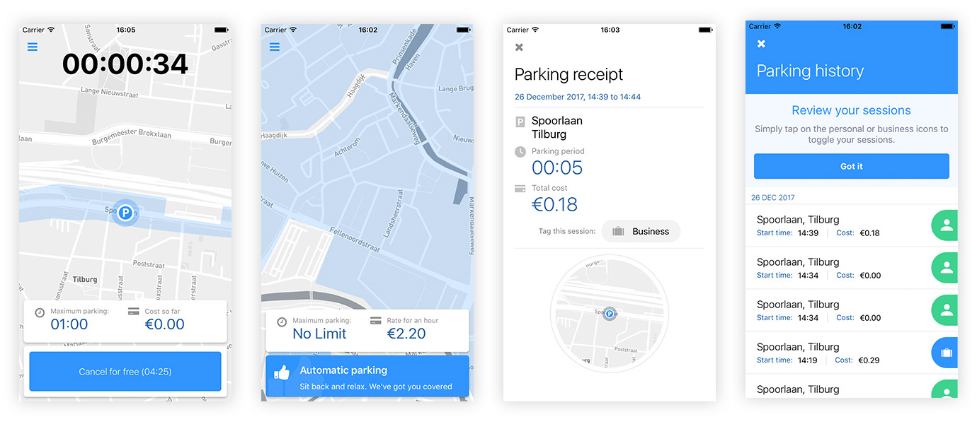Parkd app screens